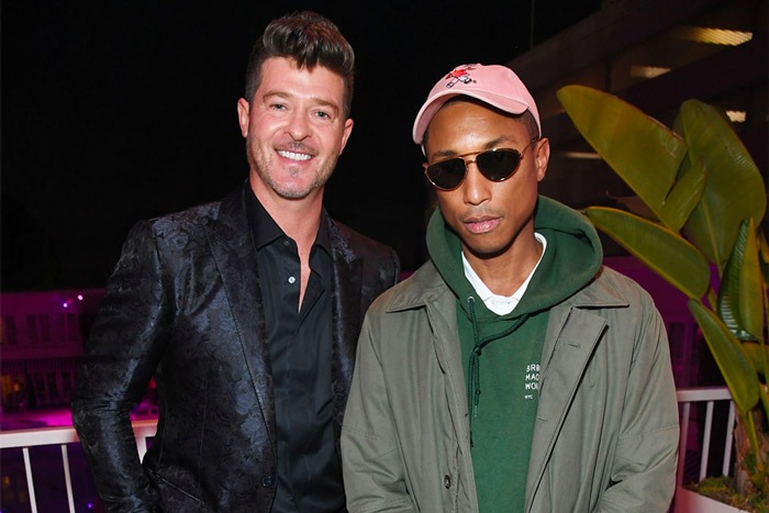 Robin Thicke Reunites with Pharrell on 'Take Me Higher'